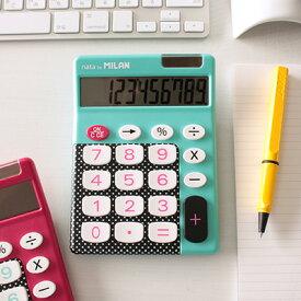 \ポイント10倍/【ミラン 電卓 おしゃれ】ミラン MILAN / 電卓 ビッグキー 10桁 ドット/ブルー(150610DBBBL)