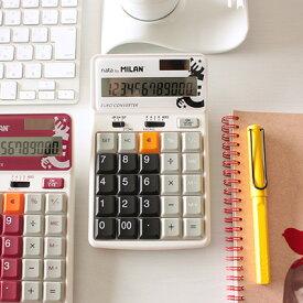 \ポイント10倍/【ミラン 電卓 おしゃれ】ミラン MILAN / 電卓 12桁 テンキー仕様 ブラック(1504129K)