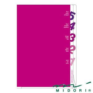 ミドリ 5ポケットクリアホルダー A4 ダイカットナンバー柄 ピンク(35101006)【MIDORI クリアホルダー クリアファイル かわいい デザイン おしゃれ】