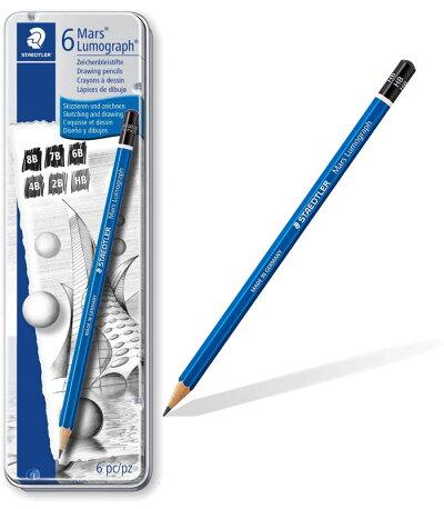 ステッドラーSTAEDTLER/ルモグラフ製図用高級鉛筆6硬度セット(8B,7B,6B,4B,2B,HB)