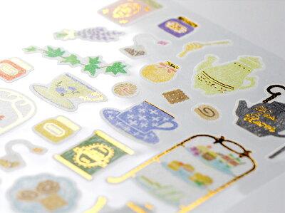 ミドリシールマルシェ紅茶柄(82372006)【MIDORISTICKERMARCHEマスキングシール貼ってはがせるかわいいデザインおしゃれ】