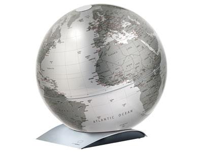アトモスフィアATMOSPHERE/CAPITAL-Q地球儀メタリックシルバー(ATM03SI)【地球儀インテリアンティークオブジェ】