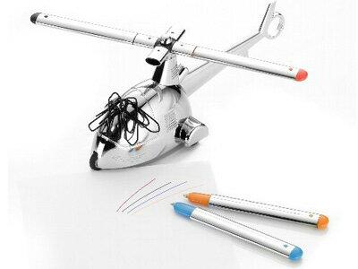 トロイカTROIKA/レディ4テイクオフREADY4TAKEOFF(ヘリコプター型ペーパーウェイト、3色ボールペン、蛍光ペン、クリップホルダー、可動式)(GAM03/CH)