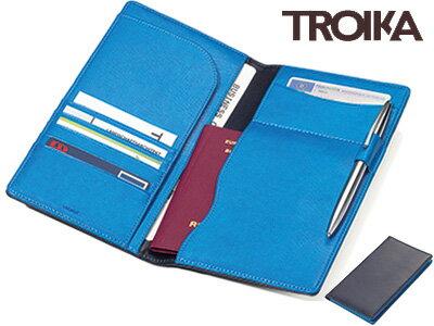 トロイカTROIKA/トラベルケースカラリ旅行パスポートケース(ダークブルー/スカイブルー)(TRV18/BL)