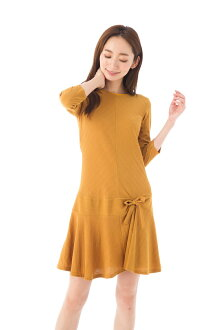 Fass (FAS) dress T1 T2 T3 size adult dress Lady's seven minutes sleeve short length jersey dress Fille A Suivre FAS