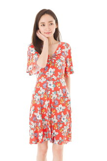 The size jersey V neck which エジェリ (EGERIE) dress T1 T2 T3 T4 adult dress Lady's five copies sleeve knee length whole pattern dress of superior grade has a big