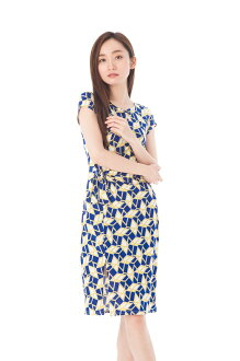 The size jersey which フィフィーユ (FIFILLES) dress T1 T2 T3 size adult Lady's short sleeves middle length dress whole pattern of superior grade has a big