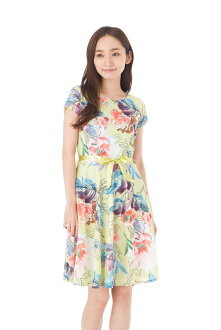 The size that Fass (FAS) dress T1 T2 T3 size adult dress Lady's short sleeves whole pattern knee length dress u neck of superior grade has a big