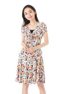 エジェリ (EGERIE) dress T1 T2 T3 T4 size short sleeves knee-length dress V neck jersey Lady's