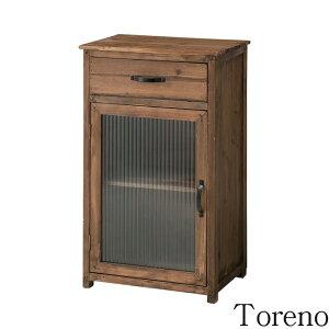 《東谷》Torenoトレノガラスキャビネットキャビネット収納棚引き出し1杯レトロガラスお洒落アンティーク風レトロモダン天然木杉木製ccr-108
