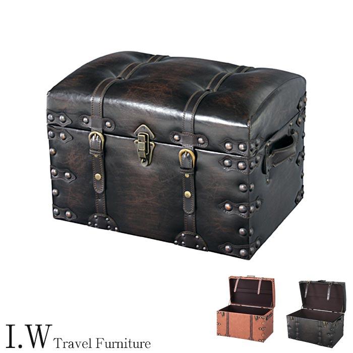 [中型家具]《東谷》Travel Furniture Trunk set トランクセット 2個セット セット販売 収納ボックス スツール一人掛けチェア ヴィンテージデザイン レトロモダン 合皮 トラベルファニチャー アイダブリュー iw-trunkset IW-276 IW-876