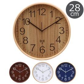 《F-trade》電波掛時計 プライウッド Φ28cm木目 とけい 電波式 かわいい 北欧 レトロ かけ時計 ナチュラル おしゃれ 新築祝い FUJI 85350 85351 85352 85353
