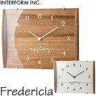 《INTERFORM》cl-2160Fredericiaフレゼレシア掛時計電波ステップムーブメント電波時計シンプルスマートとけいかわいいナチュラル木製北欧レトロかけ時計おしゃれ新生活引っ越し新築祝いインターフォルム