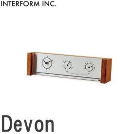 《INTERFORM》cl-3369 Devon デヴォン 掛時計温度計・湿度計付き スイープムーブメント シンプル スマート とけい かわいい ナチュラル 北欧 レトロ かけ時計 置時計 2way 両面 おしゃれ 新生活 引っ越し 新築祝い インターフォルム