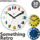 《INTERFORM》SomethingRetroサムシングレトロ掛時計Φ30cmスイープムーブメントポップシンプルとけいかわいいナチュラル北欧レトロかけ時計おしゃれ新生活引っ越し新築祝いインターフォルムcl-3710