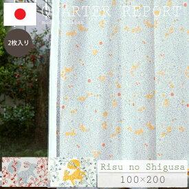 【ポイント10倍】《クォーターリポート》Risu no Shigusa リスノシグサ 既成カーテン 100×200cm 【2枚入り】日本製 ドレープカーテン 1.5倍ヒダ リス アニマル柄 ナチュラル 北欧風 シンプルモダン QUARTER REPORT risu-100-200