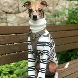 イタグレ 服 IGハイネックストライプ長袖Tシャツ 2XL イタリアン・グレイハウンド ウィペット ベドリントンテリア ドッグウェア 犬 服