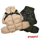 犬 服 ハーネス一体型防寒ジャンパー 背開きオールインワンコート ハーネス付き 犬服 Puppia ドッグウェア S M Lサイズ
