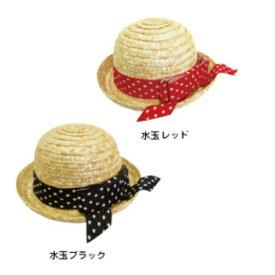 犬 麦わら帽子 水玉リボン Mサイズ ハット ドッグアイテム 小物 熱中症対策 紫外線対策 UVカット