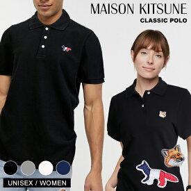 メゾンキツネ ポロシャツ 男女兼用 半袖 MAISON KITSUNEトリコロール ヘッド FOX ワンポイント ポロ コットン メンズ レディース