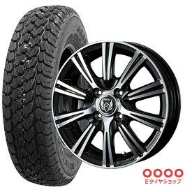 軽トラ タイヤ145R12 6PR ダンロップ グラントレック TG4 ホイール:ライツレー XS 12×4.0 PCD100/4H +42 JWL-T カラー:プラックメタリック/ポリッシュサマータイヤ ホイール 4本セット