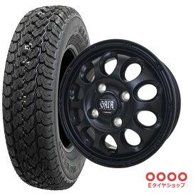 軽トラ タイヤ145R12 6PR ダンロップ グラントレック TG4 ホイール:ガイアクロス 12×4.0 PCD100/4H +42 JWL-T カラー:マットブラックサマータイヤ ホイール 4本セット