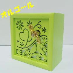 オルゴール 木製 小鳥 グリーン (曲/糸)