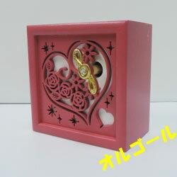 オルゴール 木製 ハート ピンク(曲/美女と野獣)