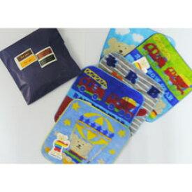 タオルハンカチ レインボーベア 色柄お任せ 紙平袋(青)&シール備え付け 男の子向け