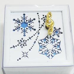 木製オルゴール 雪の結晶 ホワイト
