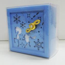 木製オルゴール 雪の結晶&ユニコーン ブルー
