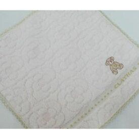 タオルハンカチ レディース CLATHAS クレイサス 花柄&クマ刺繍 オフホワイト(2018秋冬/25×25cm)