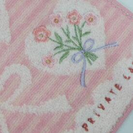 タオルハンカチ レディース プライベートレーベル ハート&リボン&花柄刺繍 ピンク(25×25cm/2018秋冬)