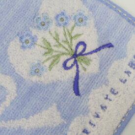 タオルハンカチ レディース プライベートレーベル ハート&リボン&花柄刺繍 サックス(25×25cm/2018秋冬)