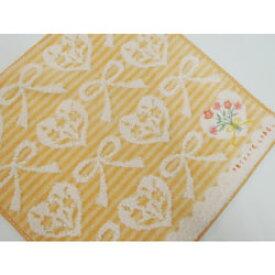 タオルハンカチ レディース プライベートレーベル ハート&リボン&花柄刺繍 オレンジ(25×25cm/2018秋冬)