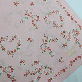 ハンカチ レディース PRIVATE LABEL プライベートレーベル 小花ハートリボン柄 ピンク 日本製(2018秋冬/50×50cm)