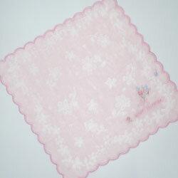 タオルハンカチ レディース MARIO VALENTINO マリオヴァレンチノ 花柄刺繍 ピンク(25×25cm/2018秋冬)