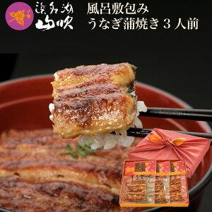 【浜名湖山吹】国産うなぎ 風呂敷包みのうなぎ串蒲焼き 3串セット gift-vkp3