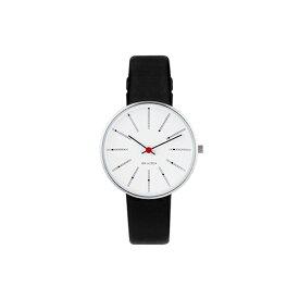 【ポイント3倍!】ARNE JACOBSEN(アルネ・ヤコブセン) 腕時計 BANKERS バンカーズ 34mm ホワイト&シルバー×ブラックレザー