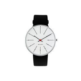【ポイント3倍!】ARNE JACOBSEN(アルネ・ヤコブセン) 腕時計 BANKERS バンカーズ 40mm ホワイト&シルバー×ブラックレザー