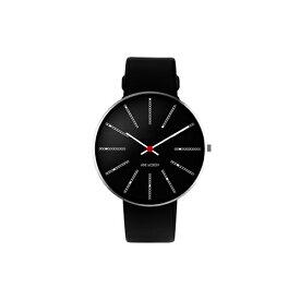 【ポイント3倍!】ARNE JACOBSEN(アルネ・ヤコブセン) 腕時計 BANKERS バンカーズ 40mm ブラック&シルバー×ブラックレザー