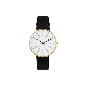 【ポイント3倍!】ARNE JACOBSEN(アルネ・ヤコブセン) 腕時計 BANKERS バンカーズ 34mm ホワイト&ゴールド×ブラックレザー