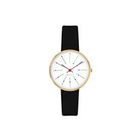 【ポイント3倍!】ARNE JACOBSEN(アルネ・ヤコブセン) 腕時計 BANKERS バンカーズ 30mm ホワイト&ゴールド×ブラックレザー