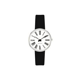 【ポイント3倍!】ARNE JACOBSEN(アルネ・ヤコブセン) 腕時計 ROMAN ローマン 30mm ホワイト&シルバー×ブラックレザー