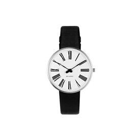 【ポイント3倍!】ARNE JACOBSEN(アルネ・ヤコブセン) 腕時計 ROMAN ローマン 34mm ホワイト&シルバー×ブラックレザー