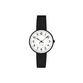 【ポイント3倍!】ARNE JACOBSEN(アルネ・ヤコブセン) 腕時計 STATION ステーション 30mm ホワイト&ブラック×ブラックメッシュ