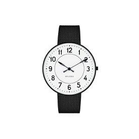 【ポイント3倍!】ARNE JACOBSEN(アルネ・ヤコブセン) 腕時計 STATION ステーション 40mm ホワイト&ブラック×ブラックメッシュ