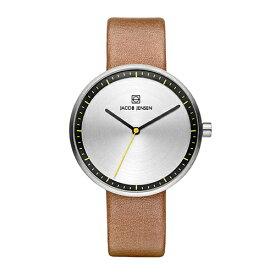 Jacob Jensen(ヤコブ・イェンセン)腕時計 Strata(ストラタ)O36シルバーケース×ブラウンレザー
