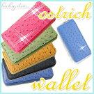 財布レディース長財布かわいい小銭入れありスマホも入る幸運を呼ぶオーストリッチ風ロングウォレット