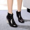 【レインブーツ/6.5cmヒール】美脚/脚長 ショートブーツ 長靴 雨靴 RAINBOOTS 水玉 S/M アウトレット価格 送料無料